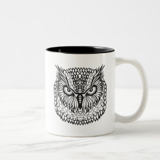 Style Eagle Owl Head Two-Tone Coffee Mug
