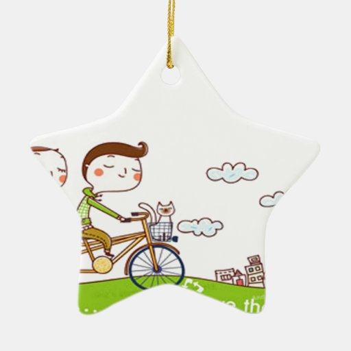 Style & Happy Double-Sided Star Ceramic Christmas Ornament