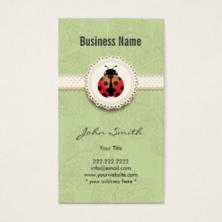 Style Ladybug & Lace Green Floral Business Card