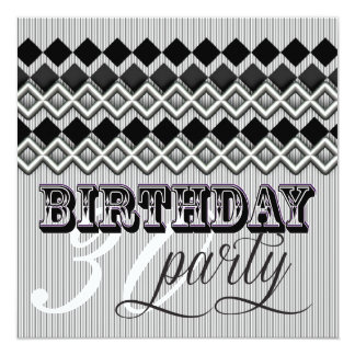 Style Mixup Stripy Diamond Age Birthday Party Card