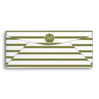 Style Monogrammed with Woodbine Stripes Envelope