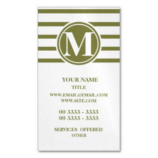 Style Monogrammed with Woodbine Stripes Magnetic Business Card