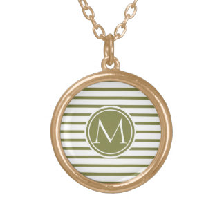 Style Monogrammed with Woodbine Stripes Round Pendant Necklace