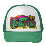 Style Pop Art Motorcycles - Green Hat