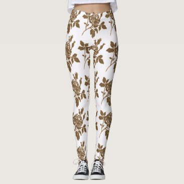 Beach Themed STYLE-ROSE-TOILE-BROWN-WHITE---LEGGING'S_XS-XL LEGGINGS