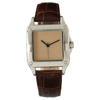 Style: Women's Perfect Square Brown Leather Strap Watch by CREATIVEBRANDS at Zazzle