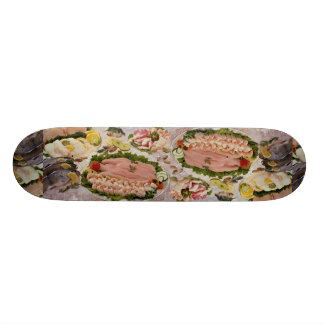 Styled platters of fish on a bed of ice custom skateboard