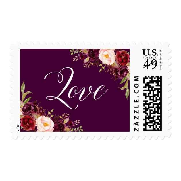 Rustic Burgundy Purple Floral Script Wedding Invitations: Plum Purple Wedding Color Ideas And Invitation Suite