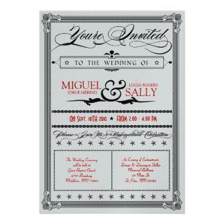 Stylin Metallic Red & Black DIY Wedding Invitation
