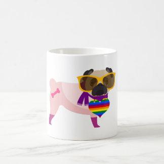 Stylin' Pug Dog Rainbow Classic White Coffee Mug
