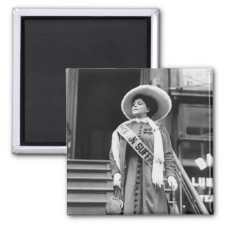 Stylin' Suffragette, 1908 2 Inch Square Magnet