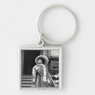 Stylin' Suffragette, 1908 Silver-Colored Square Keychain