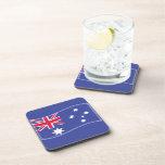 Stylised Aussie Australian flag on a blue backgrou Beverage Coaster