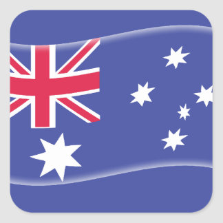 Stylised Aussie Australian flag on a blue backgrou Square Sticker