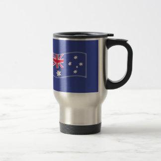 Stylised Aussie Australian flag on a blue backgrou Travel Mug