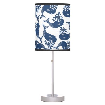 Beach Themed Stylised Blue Whales Table Lamp