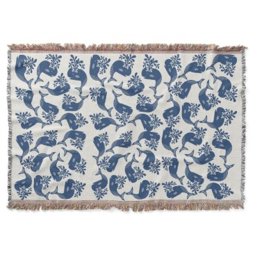 Beach Themed Stylised Blue Whales Throw Blanket