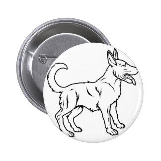 Stylised dog illustration pin