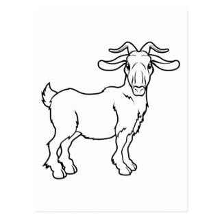 Stylised goat illustration post card