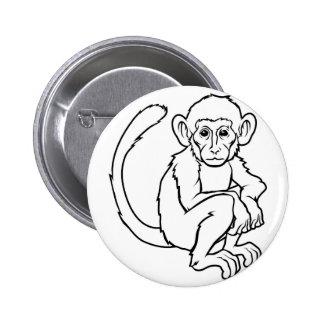 Stylised monkey illustration pin