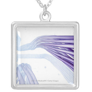 Stylised nerve fibers square pendant necklace