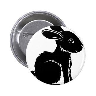 Stylised rabbit illustration pinback button