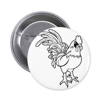 Stylised rooster illustration button
