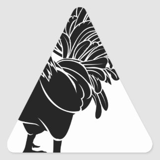 Stylised rooster illustration triangle sticker