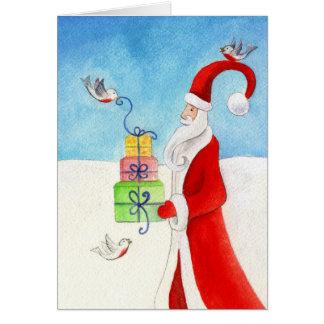 Stylised Santa & gifts Christmas art seasonal card