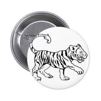 Stylised tiger illustration pinback button