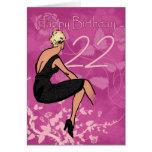 Stylish 22nd Birthday Card - Modern Female In Blac