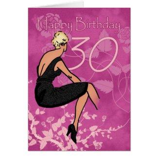 Stylish 30th Birthday Card - Modern Female In Blac