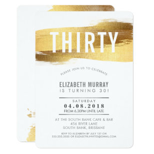 30th birthday invitations zazzle stylish 30th birthday invite faux gold brushstroke filmwisefo