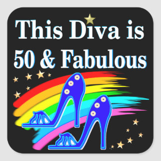 STYLISH 50 YEAR OLD SHOE QUEEN SQUARE STICKER