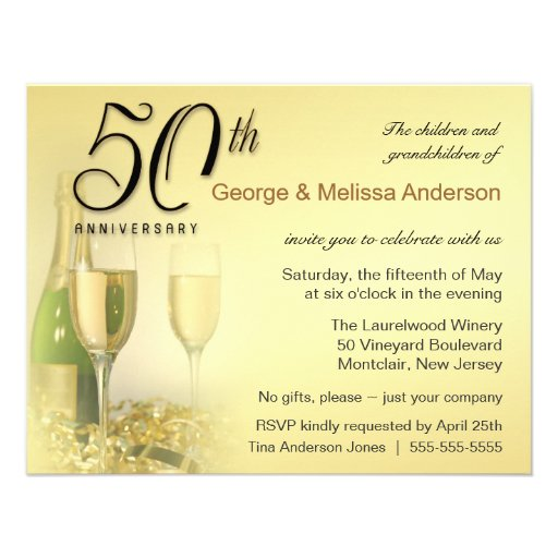Stylish 50th Anniversary Party Invitations