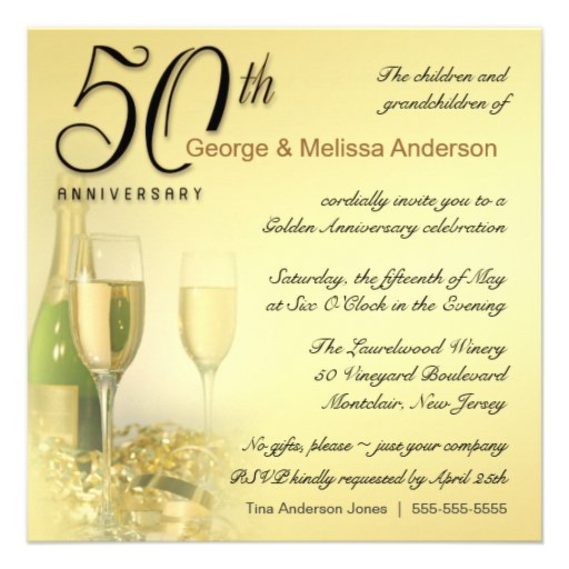 Stylish 50th Anniversary - Square Invitations