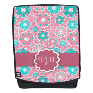 Stylish abstract aqua and pink floral monogram backpack