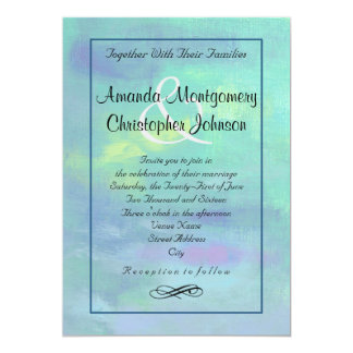 Stylish Abstract in Blue and Green Wedding Card