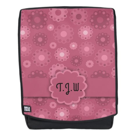 Stylish abstract pink toned floral monogram backpack