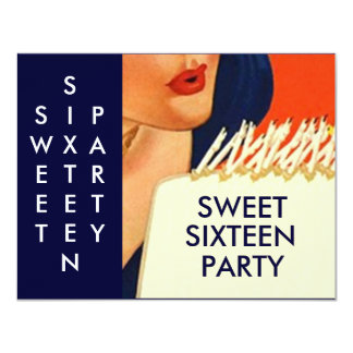 STYLISH ABSTRACT SWEET SIXTEEN 16 PARTY INVITATION
