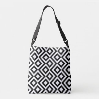 Stylish All-Over-Print Black and White Meander