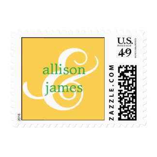 Stylish Ampersand Save The Date Postage (Mustard) Stamp