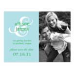 Stylish Ampersand Save The Date Postcard (Blue) Postcards