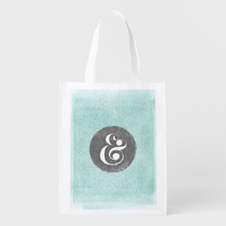 Stylish Ampersand Typeface Aqua Gray Shopping Tote Reusable Grocery Bag