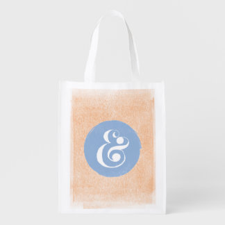 Stylish Ampersand Typeface Blue Peri Shopping Tote Reusable Grocery Bag