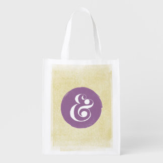 Stylish Ampersand Typeface Lavender Shopping Tote Reusable Grocery Bag
