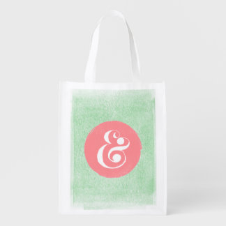 Stylish Ampersand Typeface Pink Mint Shopping Tote Grocery Bags