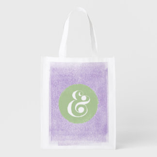 Stylish Ampersand Typeface Purple Shopping Tote Grocery Bag