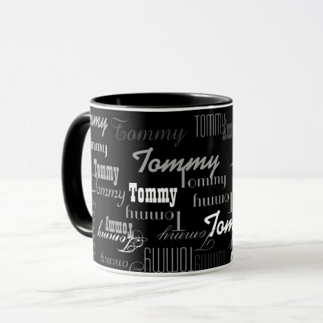 stylish and black, create your own name pattern mug