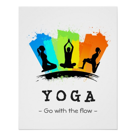 Stylish And Colorful Pilates Yoga Exercise Poster Zazzle Com